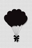 Black silhouette of balloons bunch with festive bow. For birthday, wedding, valentines party celebration Isolated on transparent background. Vector Illustration Royalty Free Stock Photography