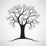 Black silhouette of a bare tree . Vector illustration Stock Photos