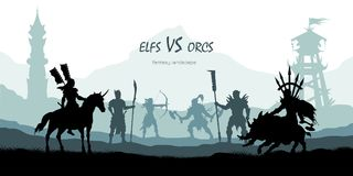 Black silhouette of battle orcs and elfs. Fantasy landscape. Medieval 2d panorama. Knights and warriors fighting scene. Scenery with towers. Vector Stock Image