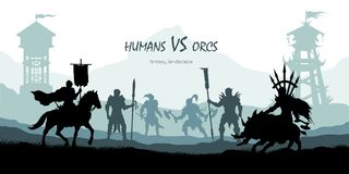 Black silhouette of battle orcs and humans. Fantasy landscape. Medieval 2d panorama. Knights and warriors fighting scene. Panorama with towers. Vector Stock Image