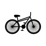 Black silhouette bicycle with pedals Stock Images