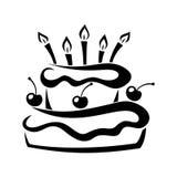 Black silhouette of birthday cake. Stock Image