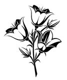 Black silhouette of bluebells. Vector. Stock Photography