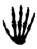 Black silhouette of the bones of the hand Stock Images