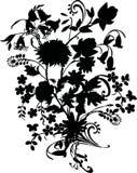 Black silhouette bouquet Stock Images