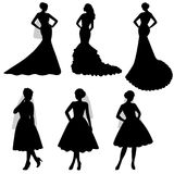 The black silhouette of  bride, Set. The black silhouette of  bride on a white background. Collection. Set. A girl in a dress. Vector illustration Stock Photography