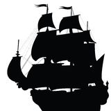 Black silhouette of brigantine. Black silhouette of old brigantine Royalty Free Stock Images