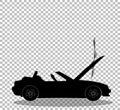 Black silhouette of broken cabriolet sports car with opened hood vector illustration