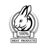 Black silhouette of a bunny. Logo 100% natural meat. Trademark with a rabbit head. Black silhouette of a bunny. Professional label Stock Images