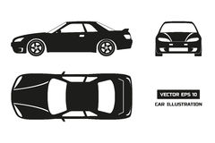 Black silhouette of the car on a white background. Top, front and side view Stock Photography