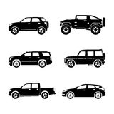 Black silhouette cars on white background Royalty Free Stock Photos