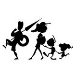 Black silhouette of cartoon family walking on beach. Vector illustration on white background Stock Image