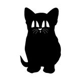Black silhouette of a cat with big eyes Royalty Free Stock Image
