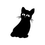Black silhouette of a cat with big eyes Stock Images