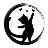 Black silhouette of cat. Vector illustration Stock Photos