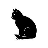 Black silhouette cat charm. Black silhouette of cat on white background. Big eyes, unusual animal, - vector abstract illustration Royalty Free Stock Photos