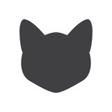 Black silhouette of cat head on a white background. Vector illustration Stock Photo
