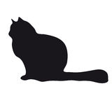 Black silhouette of cat. Black silhouette of a sitting cat on a white background Stock Image