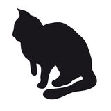 Black silhouette of cat. Black silhouette of a sitting cat on a white background Royalty Free Stock Images
