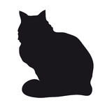 Black silhouette of cat. Black silhouette of a sitting cat on a white background Royalty Free Stock Photos