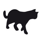 Black silhouette of cat. Black silhouette of a walking cat on white background Royalty Free Stock Photography