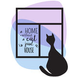 Black silhouette of cat and window. Hand Drawn Vector illustration. A Home Without A Cat Is Just A House Stock Photography