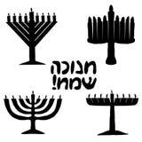Black silhouette of Chanukiah set. Jewish holiday of Hanukkah. inscription in Hebrew Hanukkah Sameah translation Happy Chanukah Royalty Free Stock Photo
