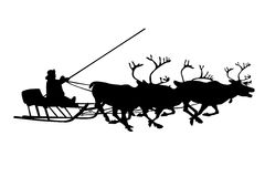 Black silhouette of christmas deer and santa Stock Photography