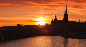 Black silhouette cityscape of Gamla Stan Stock Images