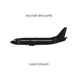 Black silhouette of a civil airplane on a white background. Isol Royalty Free Stock Photos