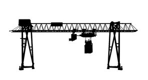 Black silhouette, container bridge gantry crane Royalty Free Stock Photos