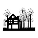 Black silhouette of cottage in the forest in white background Stock Photography