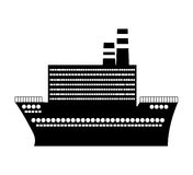 Black silhouette cruise ship design flat icon Royalty Free Stock Photography