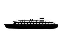 Black silhouette cruise ship design Royalty Free Stock Image
