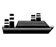 Black silhouette cruise ship icon Royalty Free Stock Photography