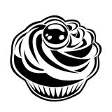 Black silhouette of cupcake. Vector illustration. Stock Image