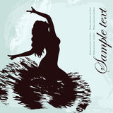 Black silhouette. Of dancer and text Royalty Free Stock Photos