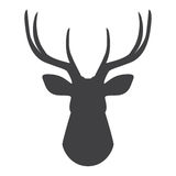 Black silhouette of deer`s head on a white background. Vector illustration. Black  silhouette of deer`s head on a white background. Vector illustration Stock Photos