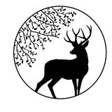 Black silhouette  deer Stock Photography