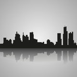 Black silhouette of Detroit with reflection. Vector illustration stock illustration