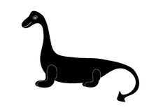 Black silhouette dinosaur dragon tale. Black silhouette of a dinosaur dragon tale white background.Paleontology of the Jurassic period Brontosaurus monster cute Stock Photos