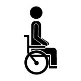 Black silhouette Disabled person sitting in the wheelchair. Vector illustration Royalty Free Stock Photography