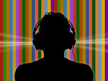 Dj in headphones on a funky background. Black silhouette of a dj in headphones on a colorful funky background Stock Illustration