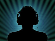 Dj in headphones. Black silhouette of a dj in headphones in the night club Stock Illustration
