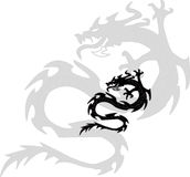 Black silhouette of dragon.Vector illustration Stock Photo