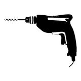 Black silhouette with drill tool. Illustration Royalty Free Stock Images