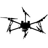 Black silhouette drone quadrocopter, vector illustration. Royalty Free Stock Images