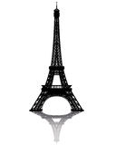 Black silhouette of the Eiffel Tower. On a white background Stock Images