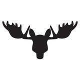 Black silhouette of an elk head. Vector illustration Stock Image