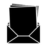 Black silhouette envelope opened with multiple sheets Royalty Free Stock Photography